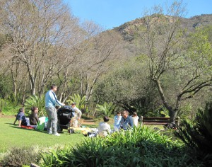 Picnickers chilling on the grass