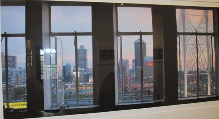 View south to Joburg CBD from window of a building in Braamfontein