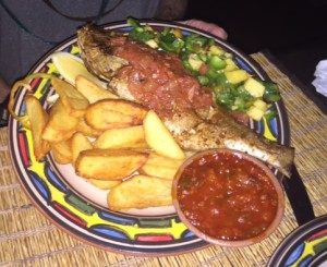 Grilled Red Snapper Cote D'Ivoire style with potato wedges & plantain