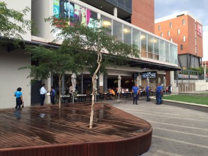 News Cafe on the Newtown Junction side of the piazza; City Lodge Hotel in the background