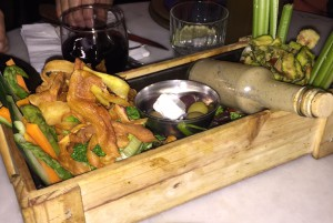 Deconstructed salad served in a wooden box