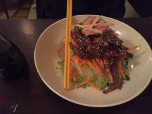 Hoisin duck strips with slivered raw veg, ginger syrup and short grain rice