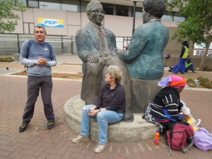 Joburg Places walking tour 2012. At the Sisulu Sculpture at Diagonal & Market St