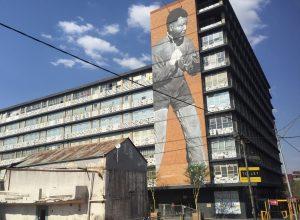 4 meter mural of the Boxing Mandela by Ricky Lee Gordon