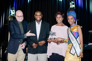 Minister Derek Hanekom presenting Tagala Mlalazi and Catherine Mahlangu of Liz at Lancaster Guesthouse with the Provincial Winner 4 Star Guesthouse Award at Gold Reef City 22nd Sept 2016