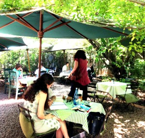 Enjoy a light lunch at Paputzi's in the back garden under shade of some original Linden fruit trees (Photo: Liz at Lancaster Guesthouse)