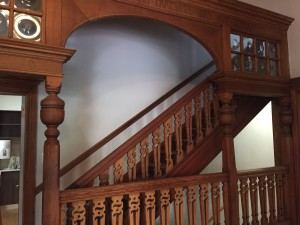 Original wooden staircase in the entrance hall Source: Liz at Lancaster Guesthouse