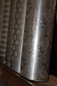 The copper rollers with the pattern etched into them. Source: Da Gama textiles