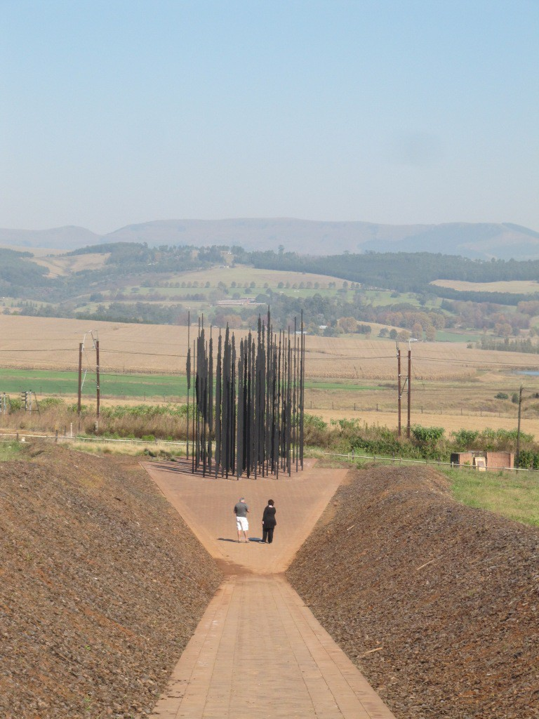 The sculpture at a distance before it coalesces into recognition