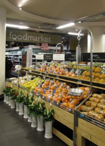 Excellent pre-prepared meals, salads, cold meats, cheeses, fruit and veg at Woollies. Hyde Park has a large food section