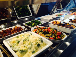 Wide choice of salads, cooked veges, main courses, salads, cheeses at Thrupps