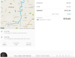 The App also gives invoice showing detailed record of trip