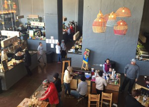 Looking down on the Joziburg Lane food market from the mezzanine levelLiz at Lancaster Guesthouse