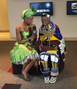 Esther Mahlangu being interviewed at the Lilizela Awards