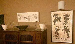 Kentridge poster in sitting room at Liz at Lancaster