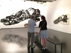 Ink Drawings of Death of the film-maker Pier Paolo Pasolini on the Kentridge exhibition at Macro (Museum of Contemporary Art) in Rome