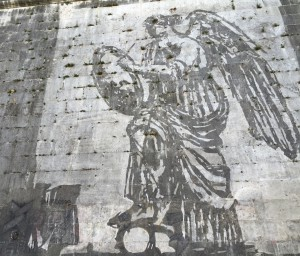 Winged Victory at the Ponte Sisto side of the procession