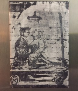 Fridge magnet from the gift shop at Macro showing Marcello Mastroianni and Anita Ekberg from La Dolce Vita (1960), bathing in a tub instead of the Trevi Fountain.