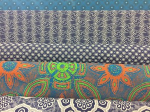 Traditional indigo block and discharge cloth with a more modernized fabric in between. Arthur Bales Linden Source: Liz at Lancaster