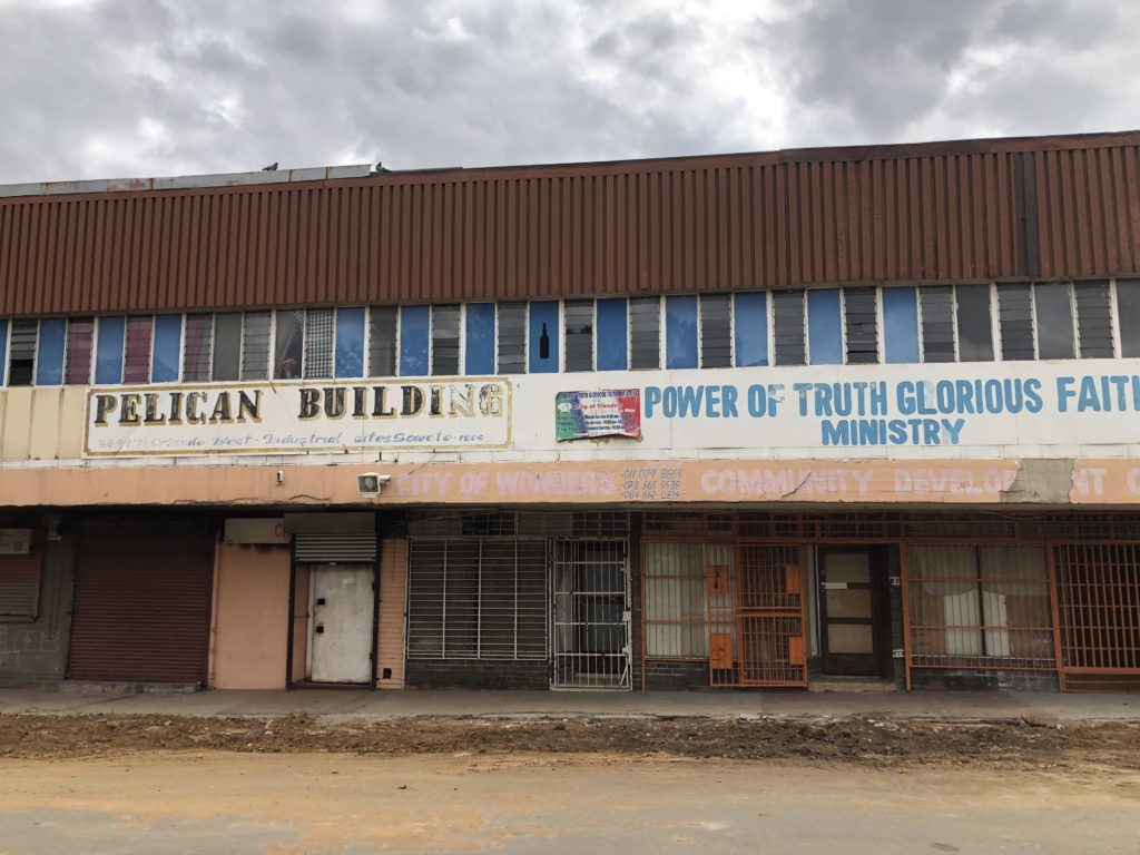 The Pelican Building, Orlando East, 2018. Source: www.lizatlancaster.co.za